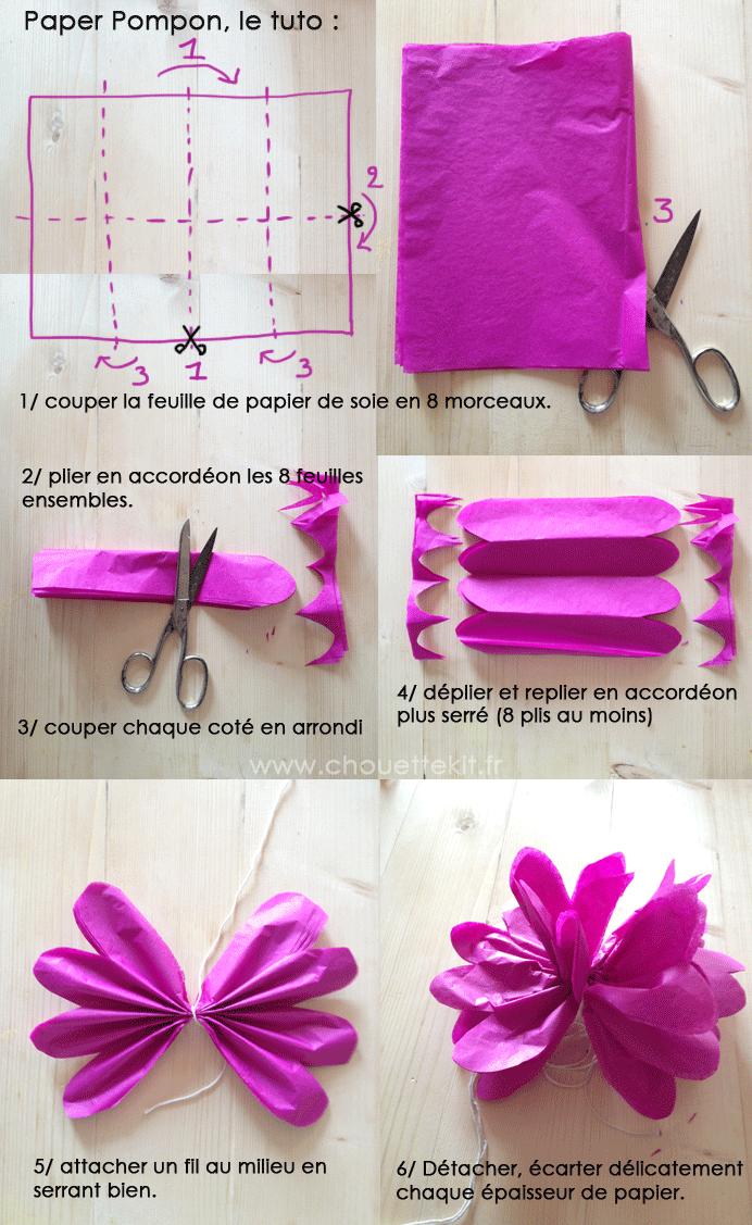 Tuto cadeau paper pompon chouette kit - Tuto fleur en papier crepon ...