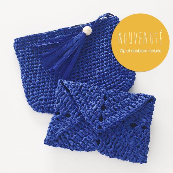 Kit papier pochette zippée bleu