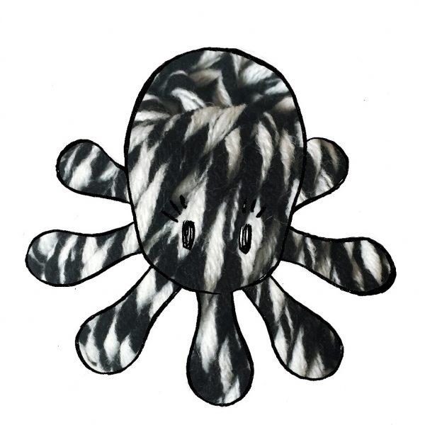 kit poulpe chiné noir & blanc- crochet tricot