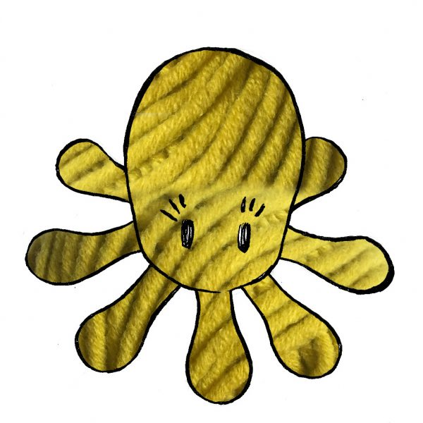 kit poulpe jaune - crochet tricot