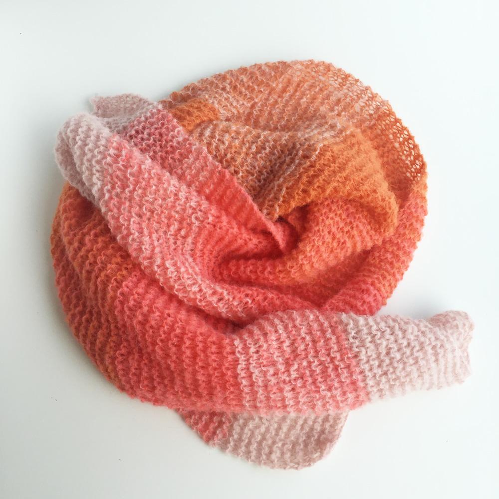 kit tricot- stole radieuse corail