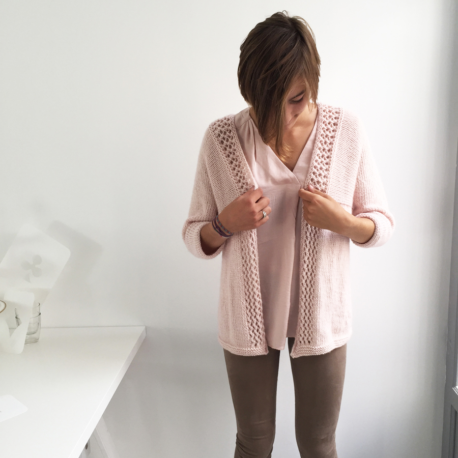 gilet rose tricot facebis taille 2 - 900