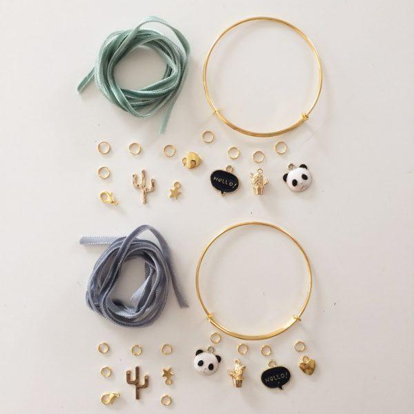 Kit Duo Bracelets dorés Tilleul et Gris foncé