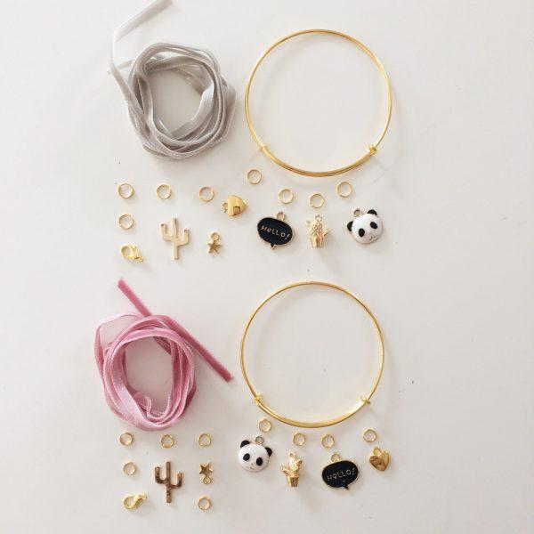 Kit Duo Bracelets dorés Rose et Gris perle