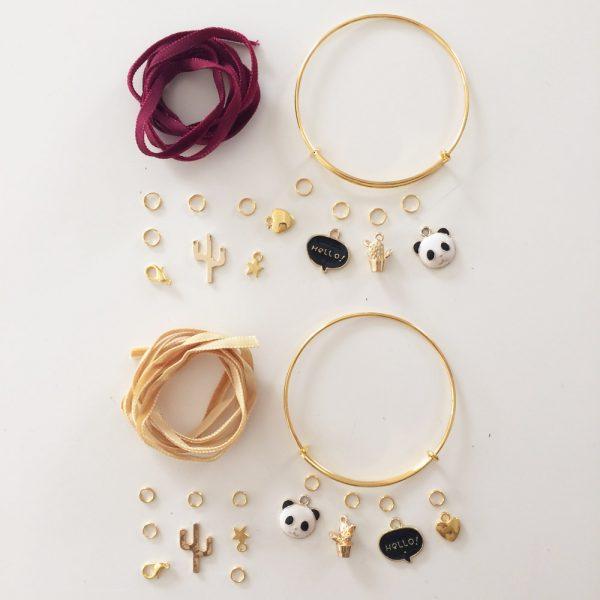Kit Duo Bracelets dorés Bordeaux et Caramel
