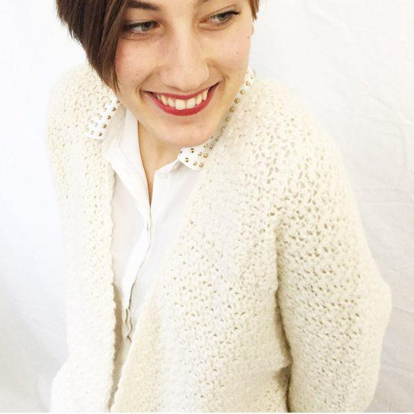Kit gilet Alice Ecru - tricot ou crochet