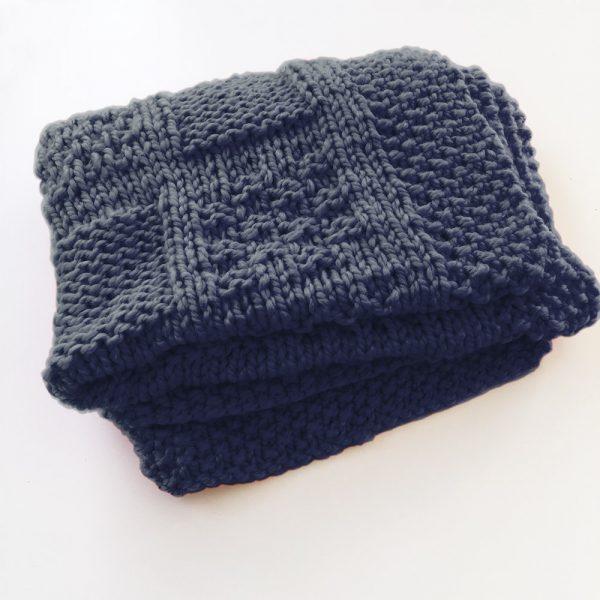 Kit plaid anthracite - tricot ou crochet
