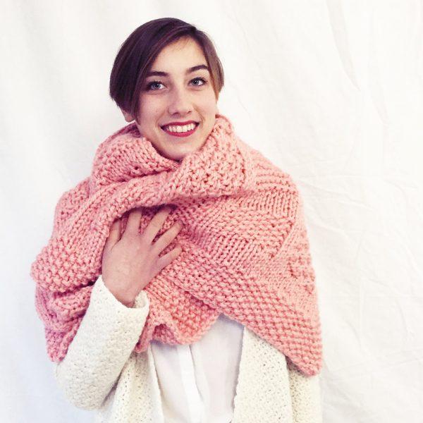 Kit plaid rose - tricot ou crochet