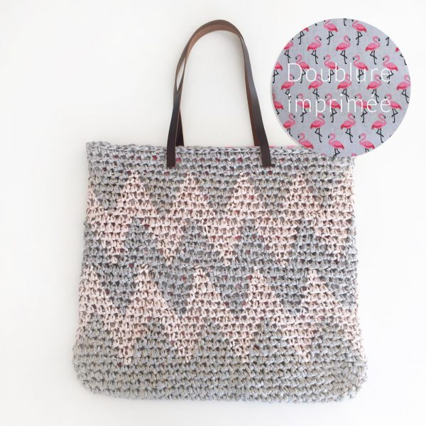 Kit Crochet - Panier Chevron rose et gris