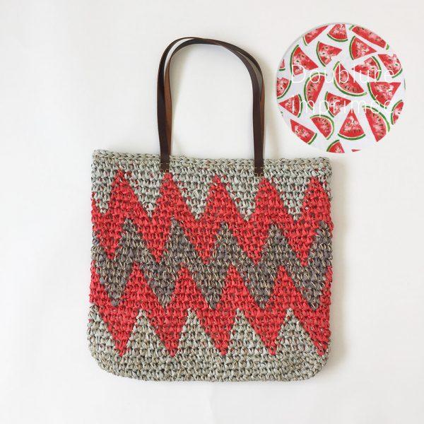 Kit Crochet - Panier Chevron Gris-Rouge
