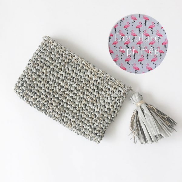Kit Crochet - Pochette zippée Gris et Or