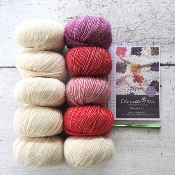 Kit Crochet Blanket Rose rouge