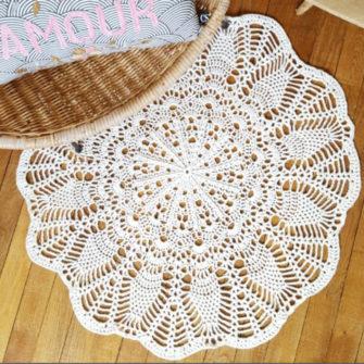 Tapis au crochet – Blanc