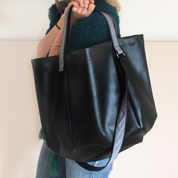 sac géant en simili cuir noir - kit couture facile
